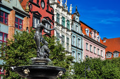 Fountain of Neptune. Old town in Gdansk, Poland Royalty Free Stock Photo