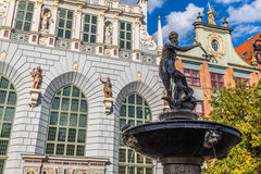Fountain of the Neptune in old town of Gdansk, Poland Royalty Free Stock Images
