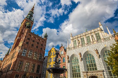 Fountain of the Neptune in old town of Gdansk, Poland Royalty Free Stock Photo