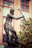 Fountain of the Neptune in old town of Gdansk, Poland Stock Image