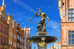 Fountain of the Neptune in old town of Gdansk Royalty Free Stock Photos