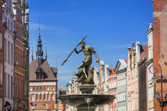 Fountain of the Neptune in old town of Gdansk Royalty Free Stock Images