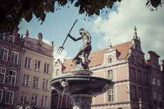 Fountain of the Neptune in old town of Gdansk, Poland Stock Images