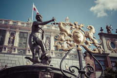 Fountain of the Neptune in old town of Gdansk, Poland Royalty Free Stock Photography