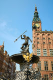 Fountain of the Neptune in old town of Gdansk Stock Photography