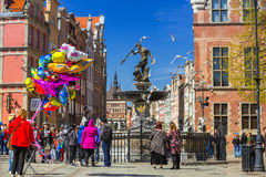 Fountain of the Neptune in old town of Gdansk, Poland Royalty Free Stock Photos