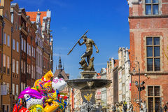 Fountain of the Neptune in old town of Gdansk Stock Photos