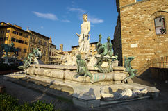 Fountain of Neptune and Palazzo della Signoria in Florence Royalty Free Stock Image