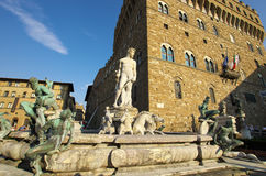 Fountain of Neptune and Palazzo della Signoria in Florence Royalty Free Stock Photography