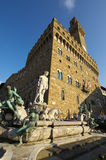 Fountain of Neptune and Palazzo della Signoria in Florence Royalty Free Stock Images
