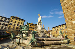 Fountain of Neptune and Palazzo della Signoria in Florence Stock Photo