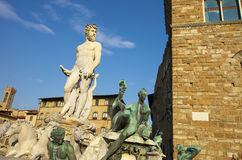 Fountain of Neptune and Palazzo della Signoria in Florence. FLORENCE,IT - SEPTEMBER,9 2016 - Fountain of Neptune and Palazzo della Signoria in Florence Stock Image