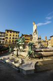 Fountain of Neptune and Palazzo della Signoria in Florence. FLORENCE,IT - SEPTEMBER,9 2016 - Fountain of Neptune and Palazzo della Signoria in Florence Royalty Free Stock Image