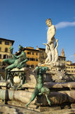Fountain of Neptune and Palazzo della Signoria in Florence. FLORENCE,IT - SEPTEMBER,9 2016 - Fountain of Neptune and Palazzo della Signoria in Florence Stock Photo