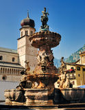 Fountain of Neptune and Duomo, Trento Royalty Free Stock Photos