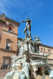 Fountain of Neptune on Piazza del Nettuno in Bologna in sunny da. Sculpture of nereid in Fountain of Neptune on Piazza del Nettuno in Bologna in sunny day, Italy royalty free stock photography