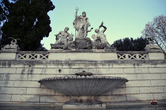 Fountain of Neptune in Piazza del Popolo, Rome, Italy ( photogra Stock Photos
