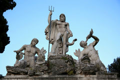 Fountain of Neptune in Piazza del Popolo, Rome, Italy Stock Photography
