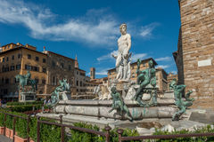 Fountain of Neptune on Piazza della Signoria in Florence Royalty Free Stock Photos