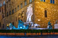 Fountain Neptune in Piazza della Signoria in Florence at night Stock Photography