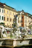Fountain of Neptune in Piazza Navona in Rome of Italy Stock Images