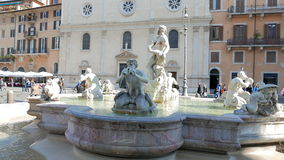 Fountain of Neptune. Piazza Navona, Rome, Italy - stock footage