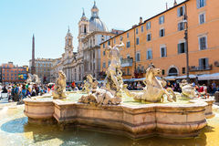Fountain of Neptune at the Piazza Navona in Rome Royalty Free Stock Photography