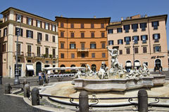 Fountain of Neptune -  Rome. The Fontana del Nettuno (Fountain of Neptune) is a fountain in Rome, Italy, located at the north end of the Piazza Navona. Piazza Royalty Free Stock Images