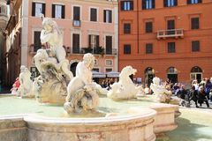 Fountain of Neptune in Rome Stock Image