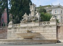 The Fountain of Neptune in Rome. On the Piazza del Popolo Royalty Free Stock Photo