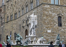 Fountain of Neptune situated on the Piazza della Signoria. The Fountain of Neptune is situated on the Piazza della Signoria in Florence, Italy.  It was Stock Photo