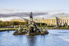 The fountain of Neptune in the top park ensemble Peterhof Royalty Free Stock Photos