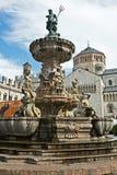 The Fountain of Neptune in Trento, Italy. Piazza Duomo with the late Baroque Fountain of Neptune (Fontana di Nettuno Stock Photo