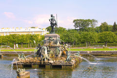 The fountain of Neptune in the Upper garden in Pet Royalty Free Stock Images