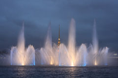 Fountain on the Neva River Stock Photo