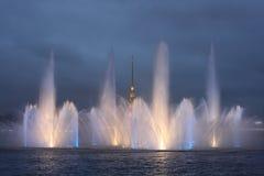 Fountain on the Neva River Stock Photo