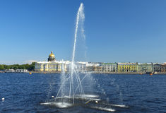 Fountain on the Neva River, Saint Petersburg, Russia Stock Image