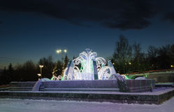 Fountain with  New Year's illumination Royalty Free Stock Images