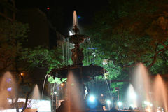 Fountain, night. Avenue of 9th July,Buenos  Aires,Argentina Royalty Free Stock Photo