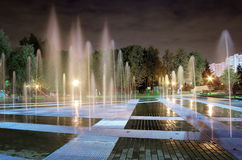 Fountain night. Fountain in a park in a suburb of Moscow by night illuminated Stock Photos
