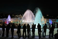 Fountain at night Royalty Free Stock Photography