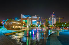 Fountain at night in Beer Sheva. Royalty Free Stock Photography