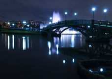 Fountain night bridge Stock Photography