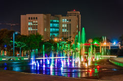 Fountain at night in the center of Beer Sheva. Royalty Free Stock Photography