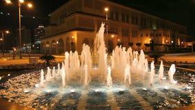 Fountain at night. Doha, Qatar stock video footage