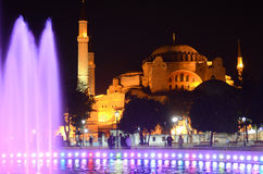 Fountain at night in front Hagia Sophia Stock Photo