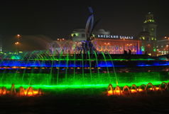 Fountain with night lights Stock Image