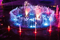 Fountain night lights. Stock Photos