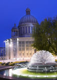 Fountain at Night. In Lodz Royalty Free Stock Photography