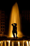Fountain at night in Madrid Royalty Free Stock Photos